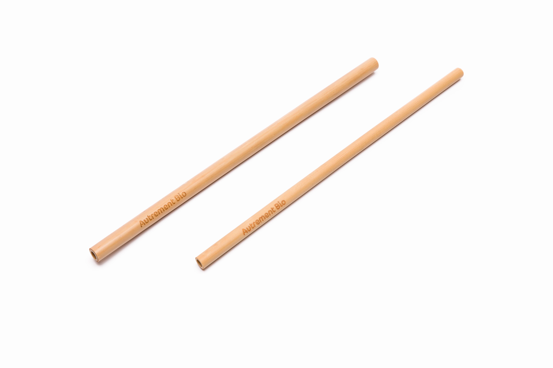 pajitas de bambú logo personalizada